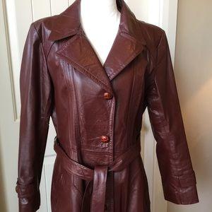 Vintage Wilsons oxblood red long leather jacket